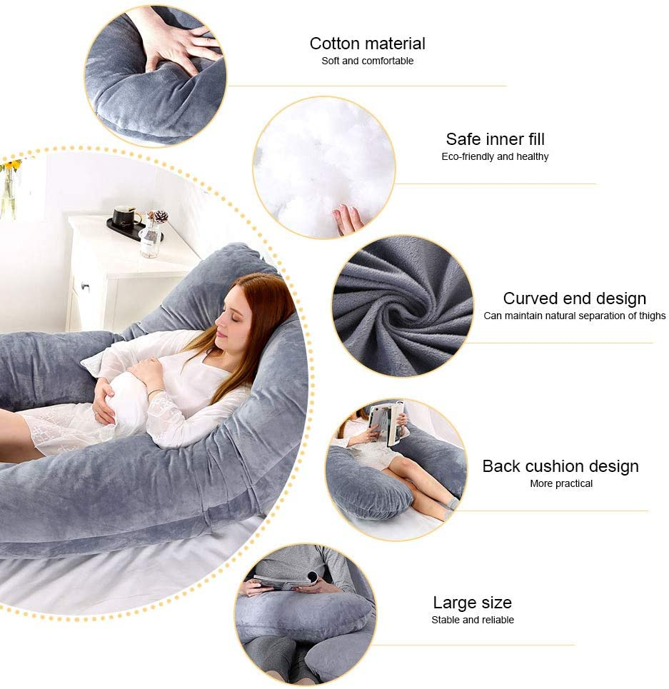 "55""x31""Size U-Shaped Maternity Pillow Full Body Cover Pillow Pregnancy Pillow"