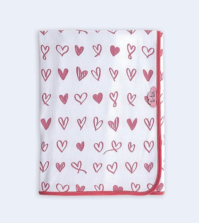 Ti-Tin - Arrullo Bebe de Punto de Algodón Suave. Color Rosa - CORAZONES: Amazon.es: Bebé