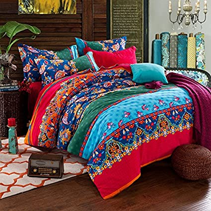 9c646f8be6d1 FADFAY Colorful Bohemian Duvet Covers Queen King Size Exotic Boho Bedding   Amazon.co.uk  Kitchen   Home