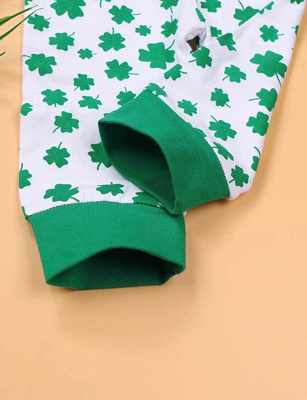 My 1ST St.Patricks Day Outfit Newborn Baby Boy Girl Romper+Four-Leaf Clover Pants+Hat and Headband Clothes Set