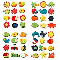 CraftDev Wooden Cartoon or Nature Theme Fridge Magnets - Set of 48