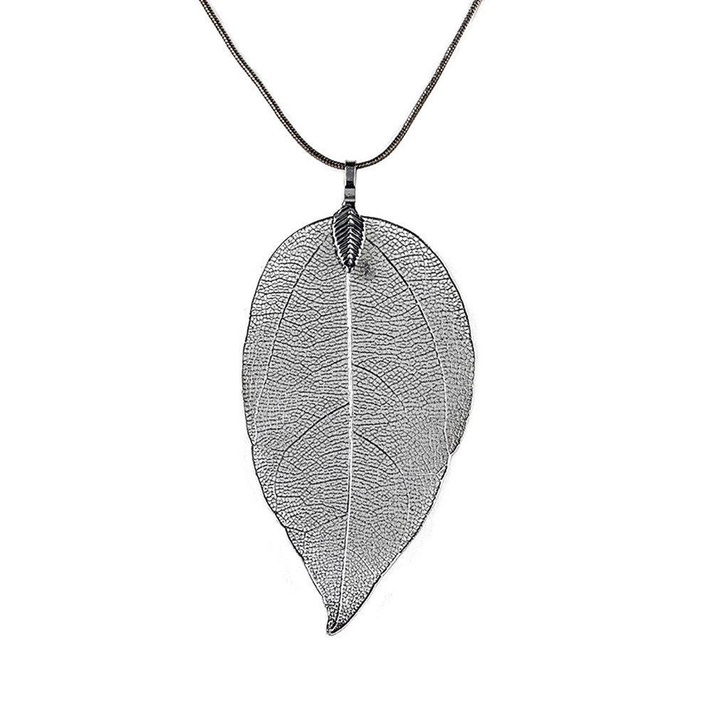 Oillian Women The New Special Leaves Leaf Pattern Simple Style Sweater Pendant Necklace Long Chain Jewelry Gift for Girls Lady Best Friend Forever Valentine's Day (BK)