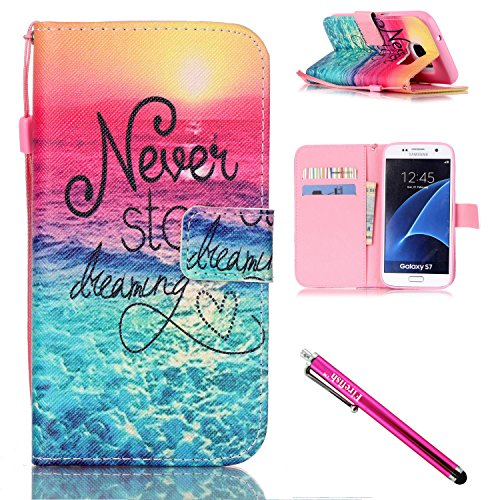 Leather Shell Synthetic (Galaxy S7 Case, Firefish [Card Slots] [Kickstand] Flip Folio Wallet Case Synthetic Leather Shell Scratch Resistant Protective Cover for Samsung Galaxy S7-Sea)