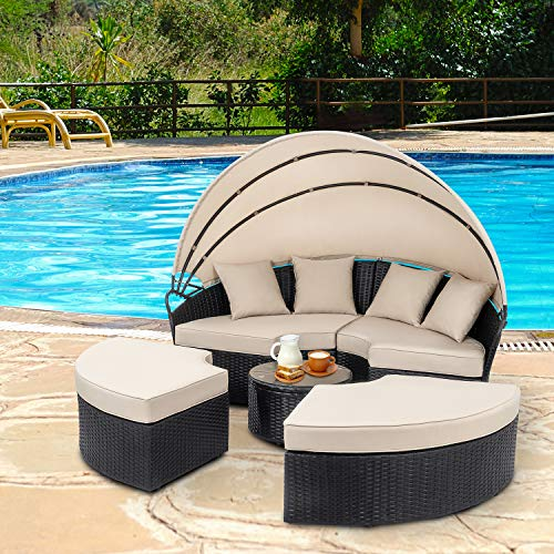 Walsunny Patio Furniture Outdoor Lawn Backyard Poolside Garden Round Round Daybed with Retractable Canopy Wicker Rattan, Seating Separates Cushioned Seats (Cream Garden Sets Furniture)