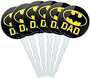 GRAPHICS & MORE Batman Bat Dad Shield Logo Cupcake Picks Toppers Decoration Set of 6
