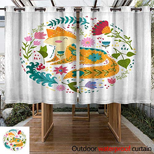 (RenteriaDecor 0utdoor Curtains for Patio Waterproof Folk Set Vector Colorful Illustration with Beautiful Fox and Flowers Scandinavian Style W108 x L72)