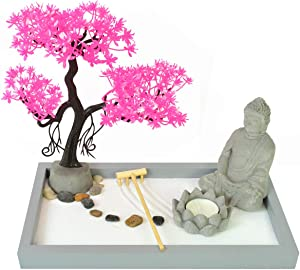 HOMELEX Tabletop Zen Rock Garden Meditating Statue Bell Rake Sand Candle Burner Tray Home Décor (SCZ-13)