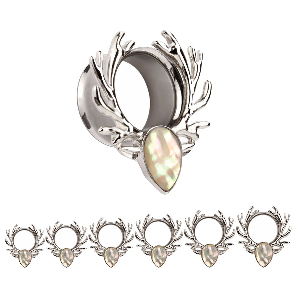 Bigbabybig Forest Antlers Man Women Opal Ear Plugs Tunnels Gauges Stretcher Piercings (Silver 10mm=00g)