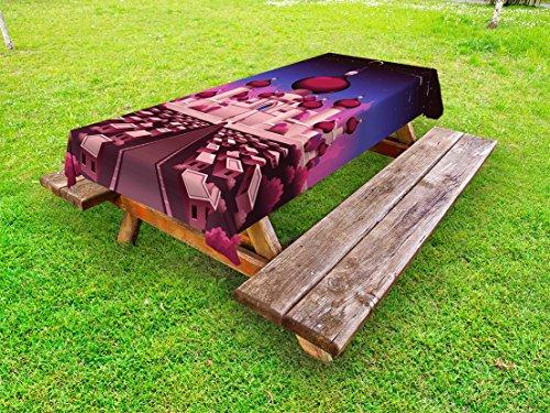 Ambesonne Fantasy Outdoor Tablecloth, Arabian Castle at Night Oriental Fairy Tale Palace Landscape Illustration, Decorative Washable Picnic Table Cloth, 58 X 84 Inches, Indigo Magenta Pink