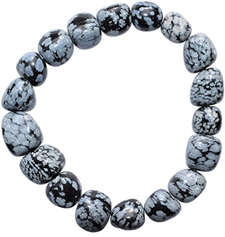 CHARGED Snowflake Obsidian Crystal Bracelet Polished Stretchy + Selenite Heart Charging Crystal (PERFECT GROUNDING PROMOTES SELF-ESTEEM, CONFIDENCE, COURAGE DISSOLVES ANGER & FEAR HEALING ENERGY)