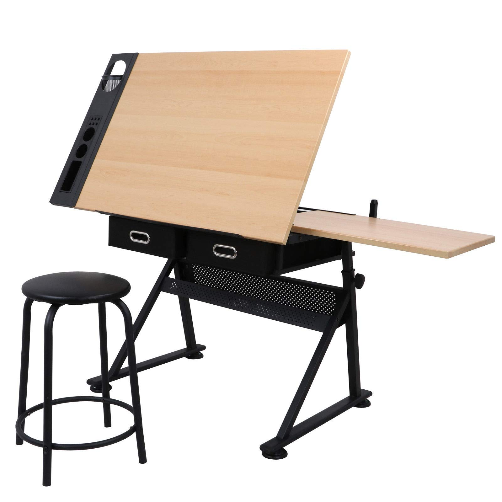 Modern Design Drafting Table W/Stool 2 Drawer Storage Stationery Sheet Stopper Iron Legs Adjustable Height Artist Home Office School Painted Accessories