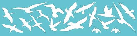 Vogelschutz Und Fensterschutz Farbe Weiss Glanz 18er Set Vogel Aufkleber Warnvögel Wintergarten Küche Haushalt