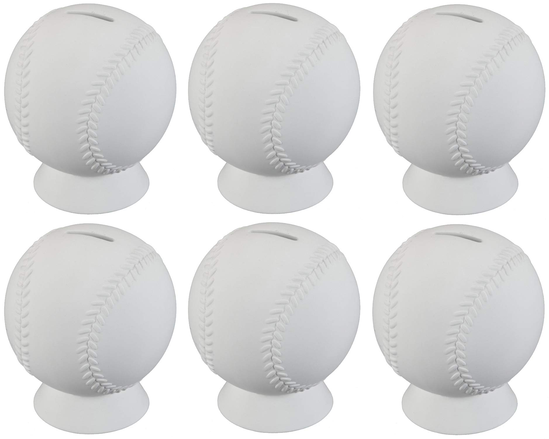 Creative Hobbies Baseball Bank, Case of 6, 5.5 Inch Tall, Unfinished Ceramic Bisque, with How to Paint Your Own Pottery Booklet