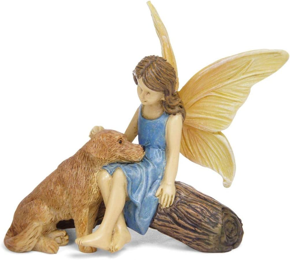 Good Boy Dog and Fairy Natural Brown 3 inch Resin Stone Collectible Figurine