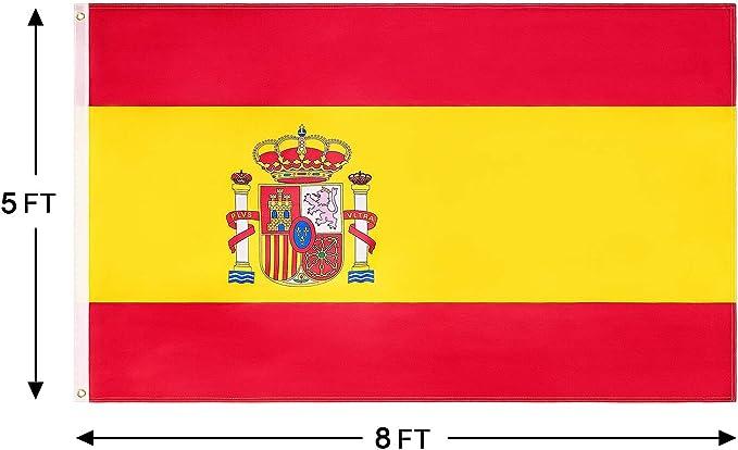 FLAGBURG Bandera de España de 5x8 pies, Bandera Española Duradera Impresa con Colores Vivos, Doble Costuras para Exhibición en Exteriores para Todo Clima: Amazon.es: Jardín