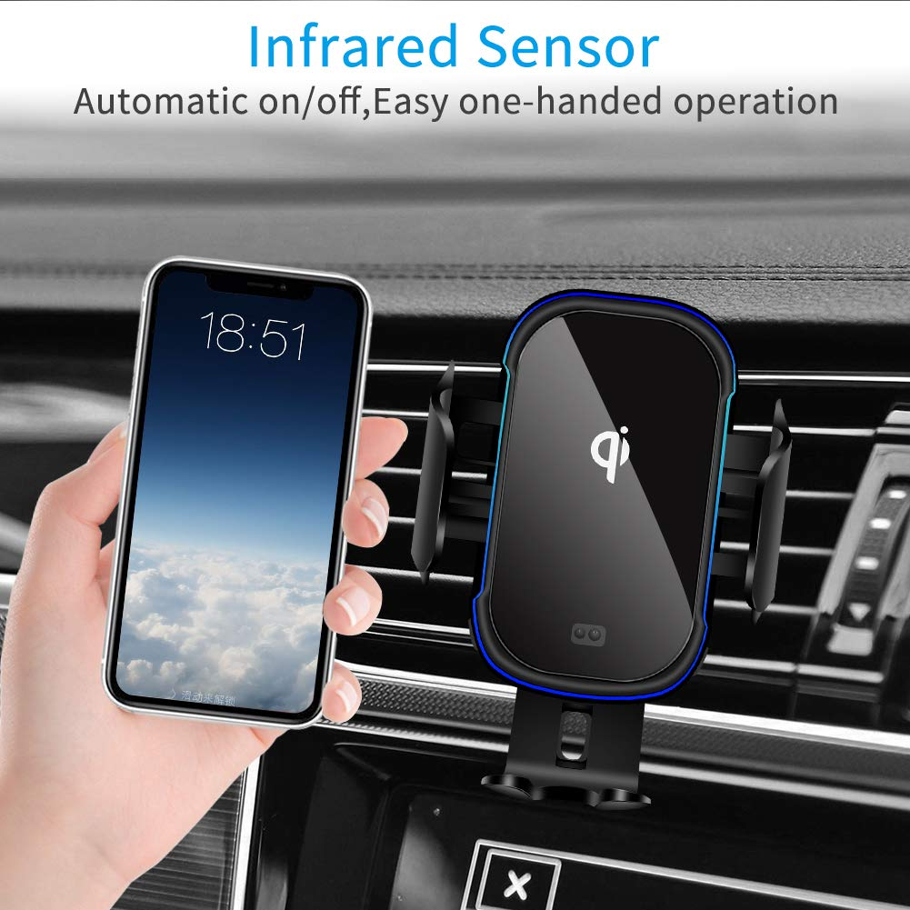RegeMoudal Wireless Car Charger Mount 15W Qi Fast Charging Auto Clamping Car Mount Air Vent Phone Holder for iPhone 8//8S//X//XS//XR//11 Pro,Samsung S7//S8//S8+//S9//S9+//S10 Fastest Wireless Car Charger