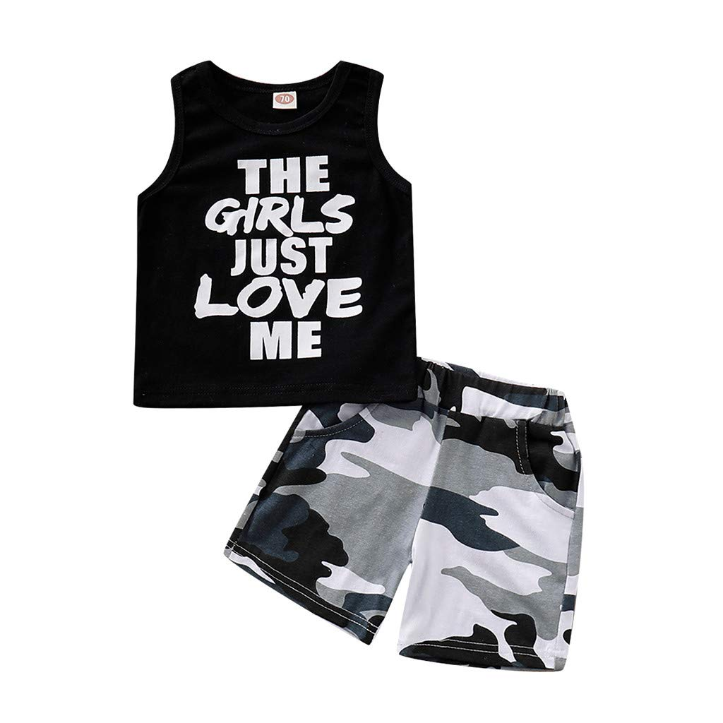 Toddler Baby Boy Summer Clothing Set Sleeveless Top Camouflage Printed Short Pants Clothes Outfits Set 0-3 Years