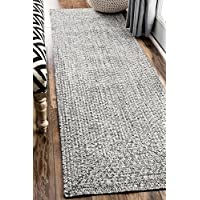 nuLOOM Traditional Solid Braided Shag Runner, 26 x 12, Salt and Pepper