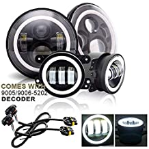 "DOT Approved Jeep Wrangler 7"" Round LED Headlights Projector Angel Eye w/DRL Amber Turn Signal Hi/Lo Beam + 4"" Halo Ring Fog Lights For Rubicon Unlimited JK TJ LJ CJ Sahara JKU Cruiser FJ Hummer H2"