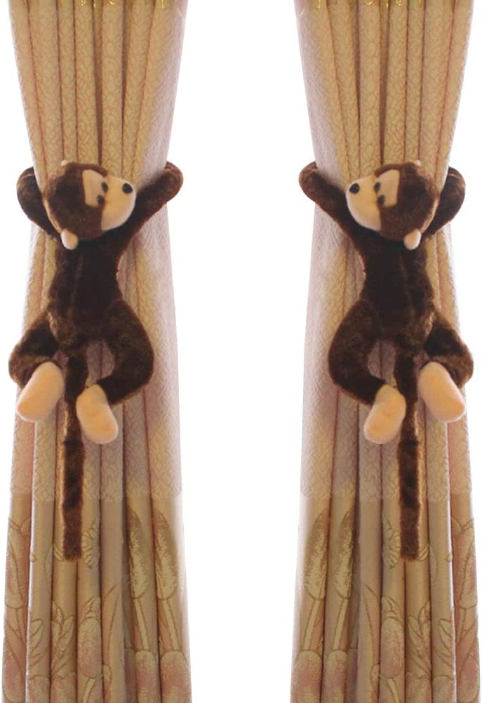 Funbase 1Pair Cartoon Monkey Kids Bedroom Curtain Holder Tieback Hook Toy