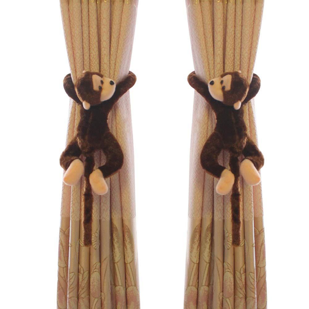 Funbase 1Pair Cartoon Monkey Kids Bedroom Curtain Holder Tieback Hook Toy