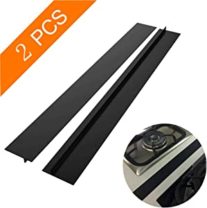 Vetoo Silicone Stove Gap Cover Between Stove and Counter, Stove Space Filler for Washer & Dryer, Cabinet Filler Strip Between Appliances: Stovetop, Oven Furniture and Washing Machine(25 inch, Black)