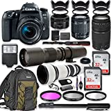 Canon EOS 77D DSLR Camera with 18-55mm Lens Bundle + Canon EF 75-300mm III Lens, Canon 50mm f/1.8, 500mm Lens & 650-1300mm Lens + Canon Backpack + 64GB Memory + Monopod + Professional Bundle