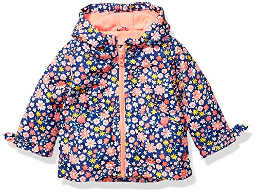 Carter's Baby Girls Midweight Fleece-Lined Jacket, Floral On Blue, 12 Months