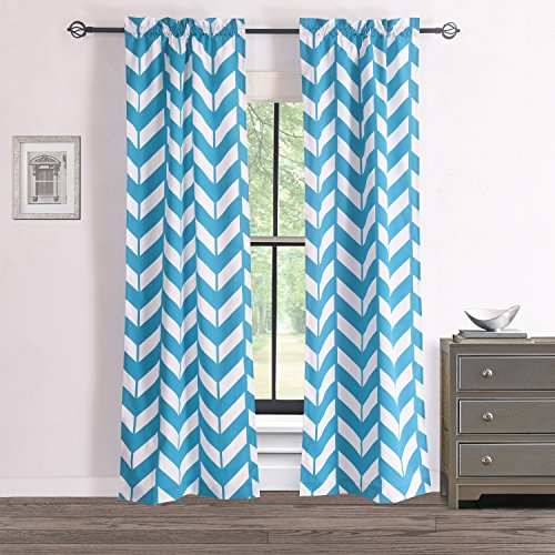 RHF Chevron Curtains-Polyester & Cotton, Teal and White Chevron curtains for living room, Two panels 84, 2 Panels 28W by 84L Inches-Teal/White