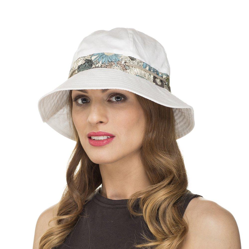 i-Smalls Ladies & Girls Flexible Foldable Cotton Floral Print Trim Summer Sun Bucket Hat