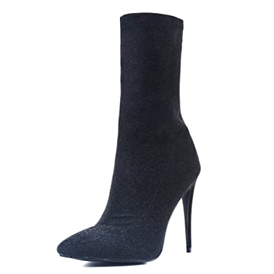 8245d4a68062c onlymaker Sock Booties Pull Up Mid-Calf Ankle Boots for Women