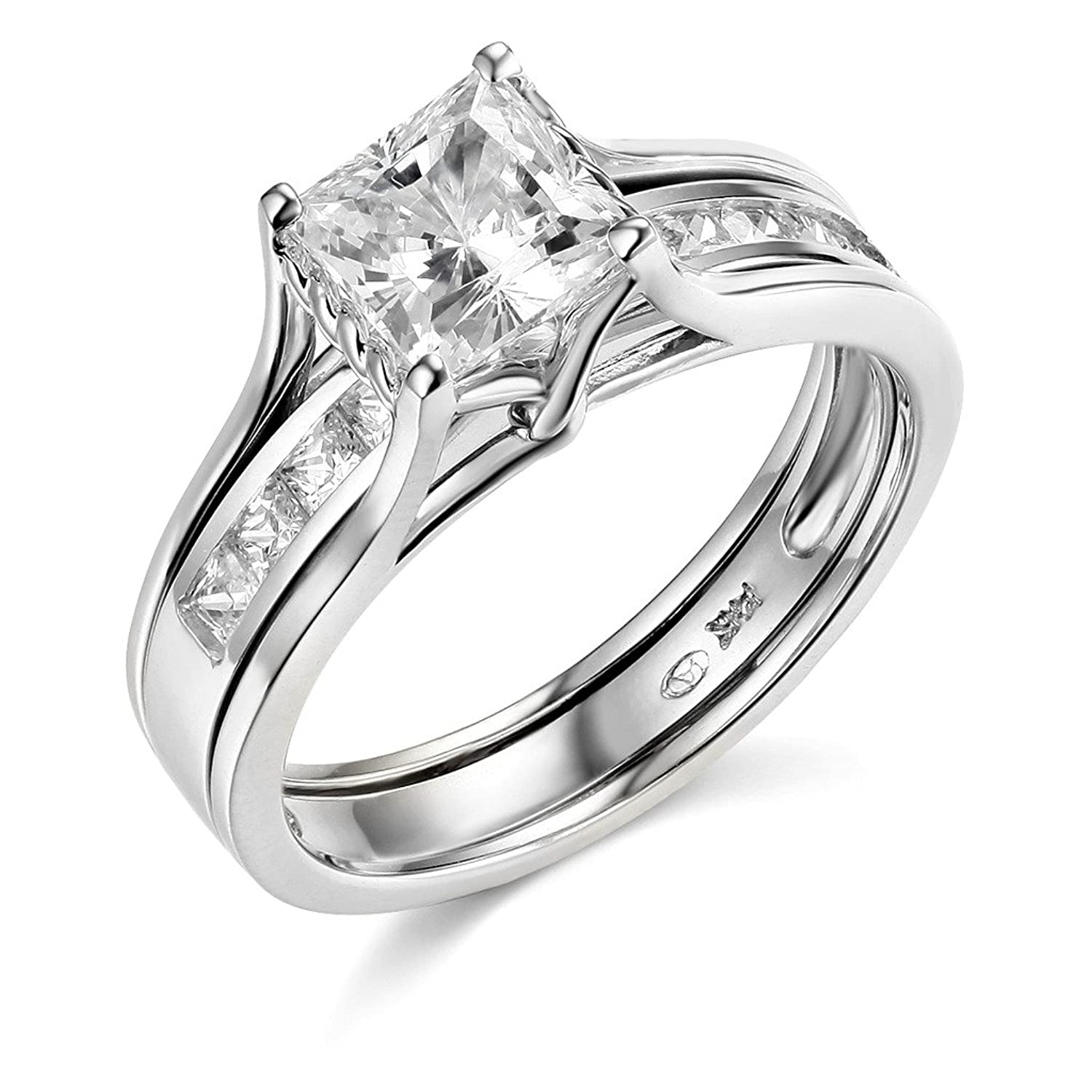 Charmant 14k Yellow OR White Gold SOLID Princess Square Engagement Ring U0026 Wedding  Band Set | Amazon.com
