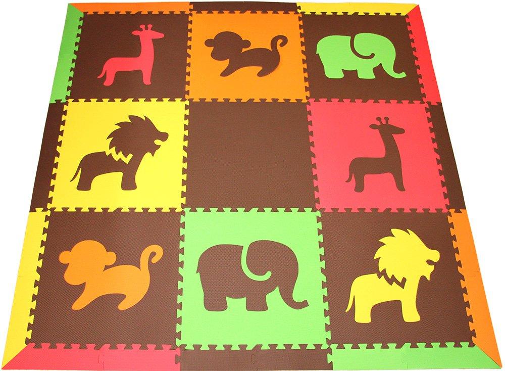 SoftTiles Children's Foam Playmat- Safari Animals Theme- Premium Interlocking Foam Mats for Children's Playrooms/Nursery- Red, Yellow, Orange, Lime & Brown (6.5' x 6.5') ROYLB