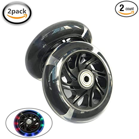 Amazon Com Aowish 120 Mm Flash Scooter Wheels Pair Light Up