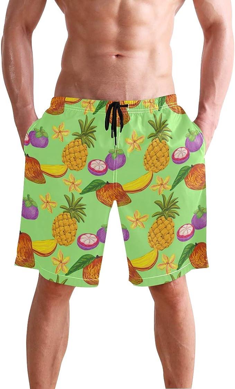 Boys Kids Tropical Watermelon Fruit Quick Dry Beach Swim Trunk Adjustable Waist Swimsuit Beach Shorts with Mesh Lining