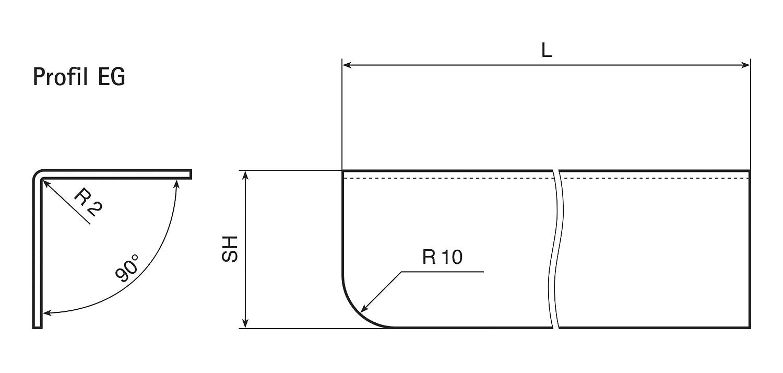 MS Beschl/äge/® Eckschutzwinkel aus Edelstahl Kantenschutz V2A Schenkel 20mm x 20mm L/änge 1500mm Gerundet