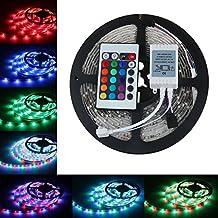 BESTVERT 12V 16.4ft(5M)/Roll 3528 SMD RGB 300 Leds Color Changing Waterproof Flexible LED Strip Light 60leds/M LED Tape Kit with 24 Key IR Remote Control