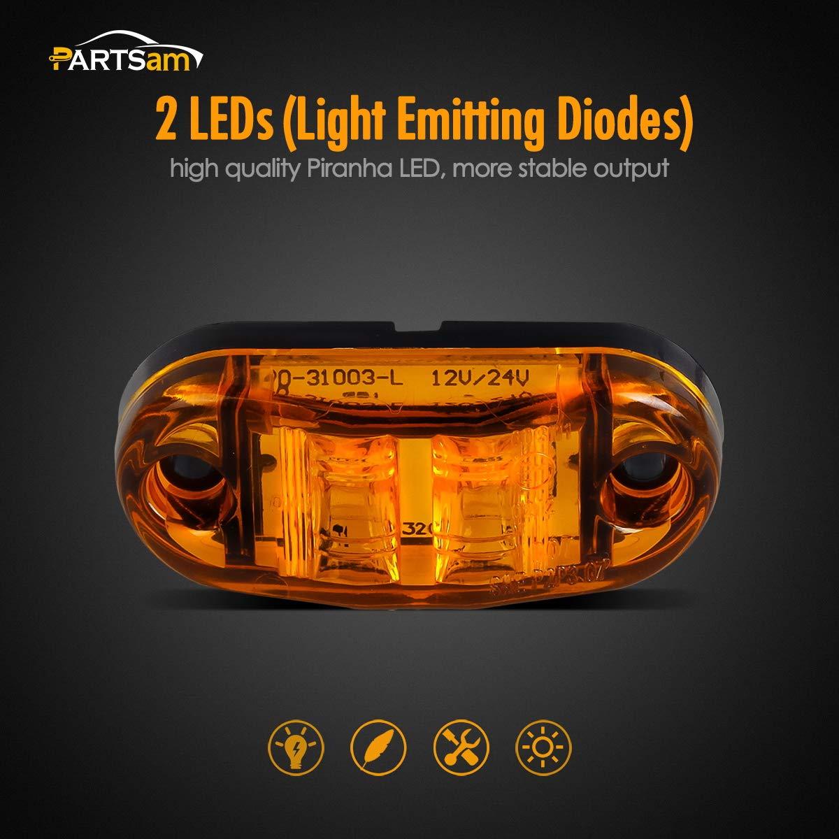 Amber Red 2.5 2 Diode Oval LED Trailer Truck Clearance Light Side Marker Light 4PCS Surface Mount Little Boat Marine Led Lights RV Camper Accessories