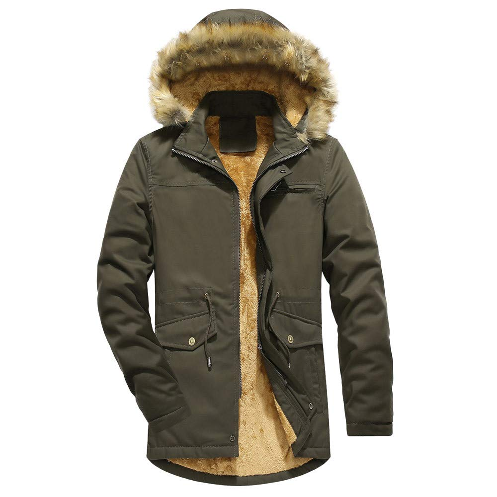 Mens Winter Coats,Men Camouflage Thickening Coat Outwear Windbreaker Plus Size,Boys Winter Coats(L,Green)