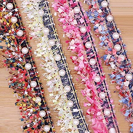 Purple 1 Yard Tassel Fringe Lace Edge Multicolor Trim Ribbon with Pearl Beads 3.8cm Width Vintage Colored Edging Trimmings Fabric Embroidered Applique Sewing Craft Wedding Dress Party Clothes Decor