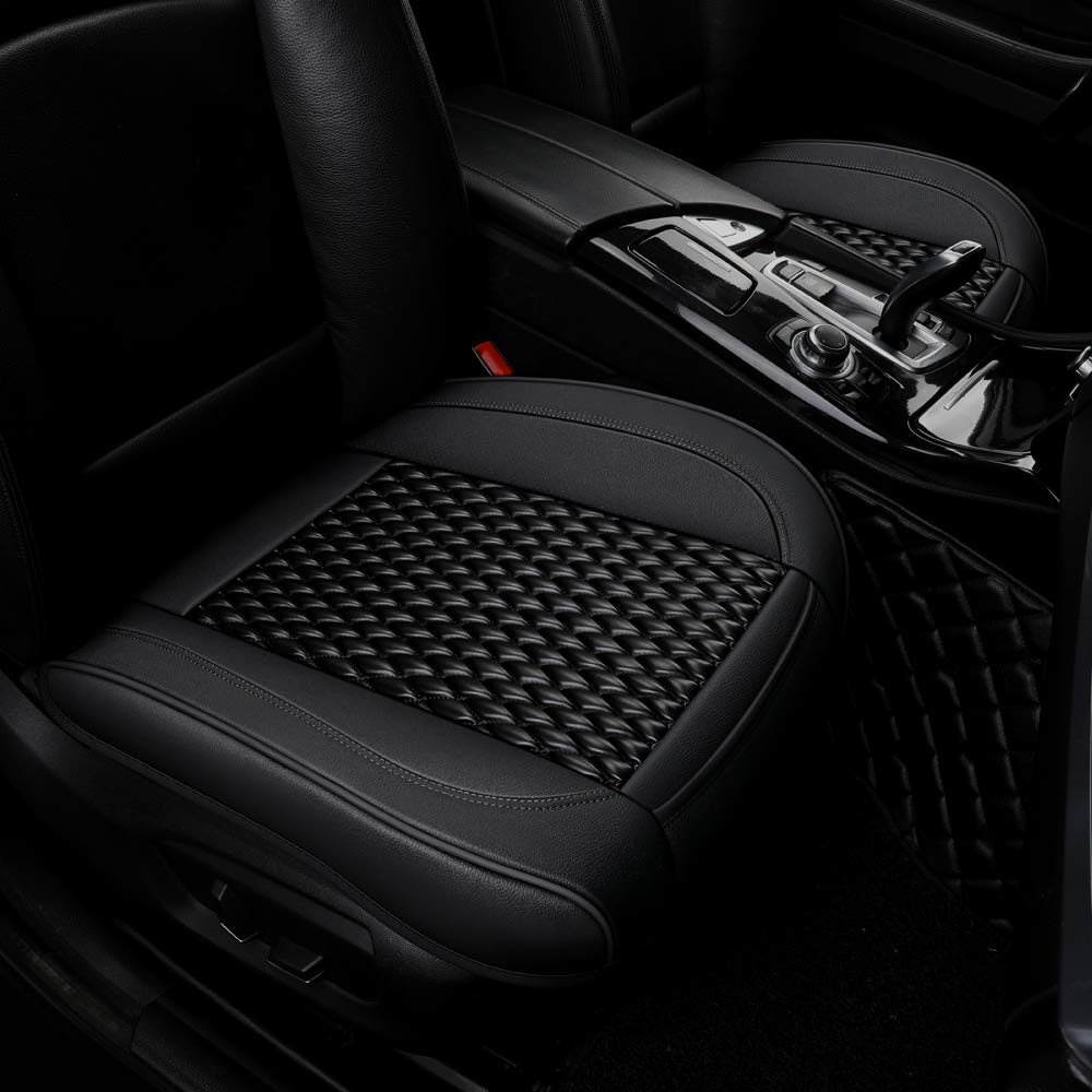 Black Luxury PU Leather Car Seat Cushion Front Seat Cover Bottom Protector,Fit for More Than 90/% Cars 21.02/×20.62 Inches 1 Piece