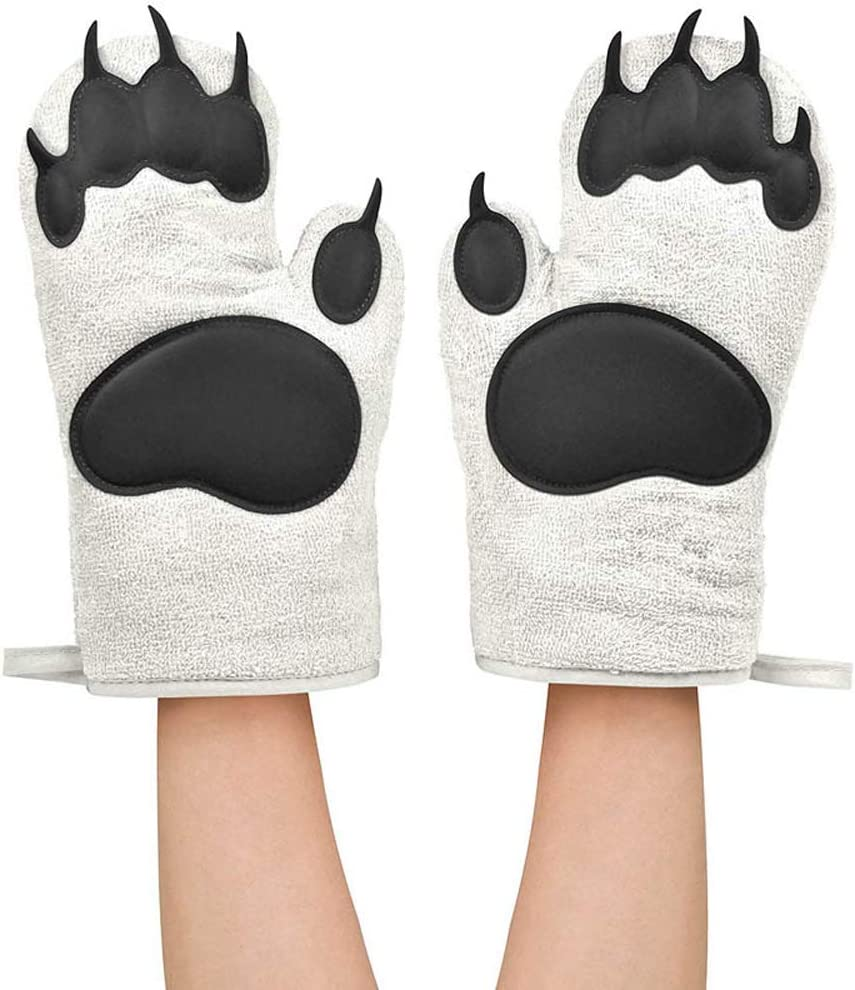 Buringer 1 Pair of Non-Slip Silicone Cotton Oven Mitt High Heat Resistance BBQ Home Oven Gloves for Kitchen Cooking Baking (White Bear Paw)