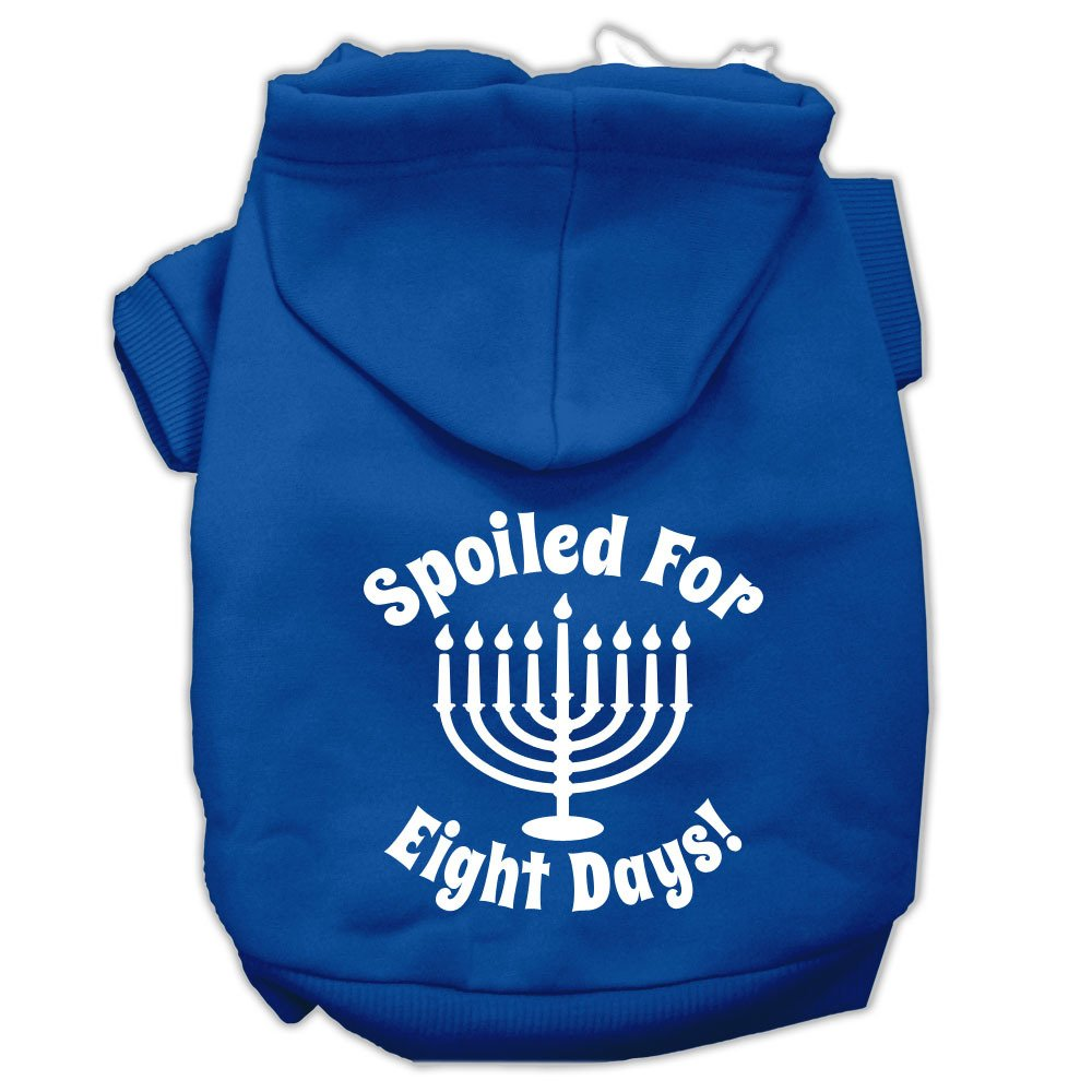 Mirage Pet Products 10'' Spoiled for 8 Days Screen Print Dog Pet Hoodie, Small, Blue