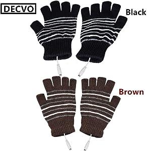 DECVO USB 2.0 Powered Stripes Heating Pattern Knitting Wool Heated Gloves Fingerless Hands Warmer Mittens Laptop Computer Warm Gloves for Women Men Girls Boys 2 Pack (Black+Brown)