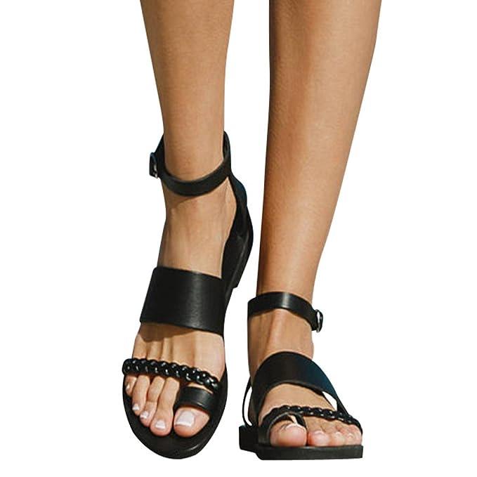 1efa8234c7de Amazon.com  Thong Roman Flat Shoes Womens Gladiator Sandals Flip Flop Straps  Summer T-Strap  Clothing