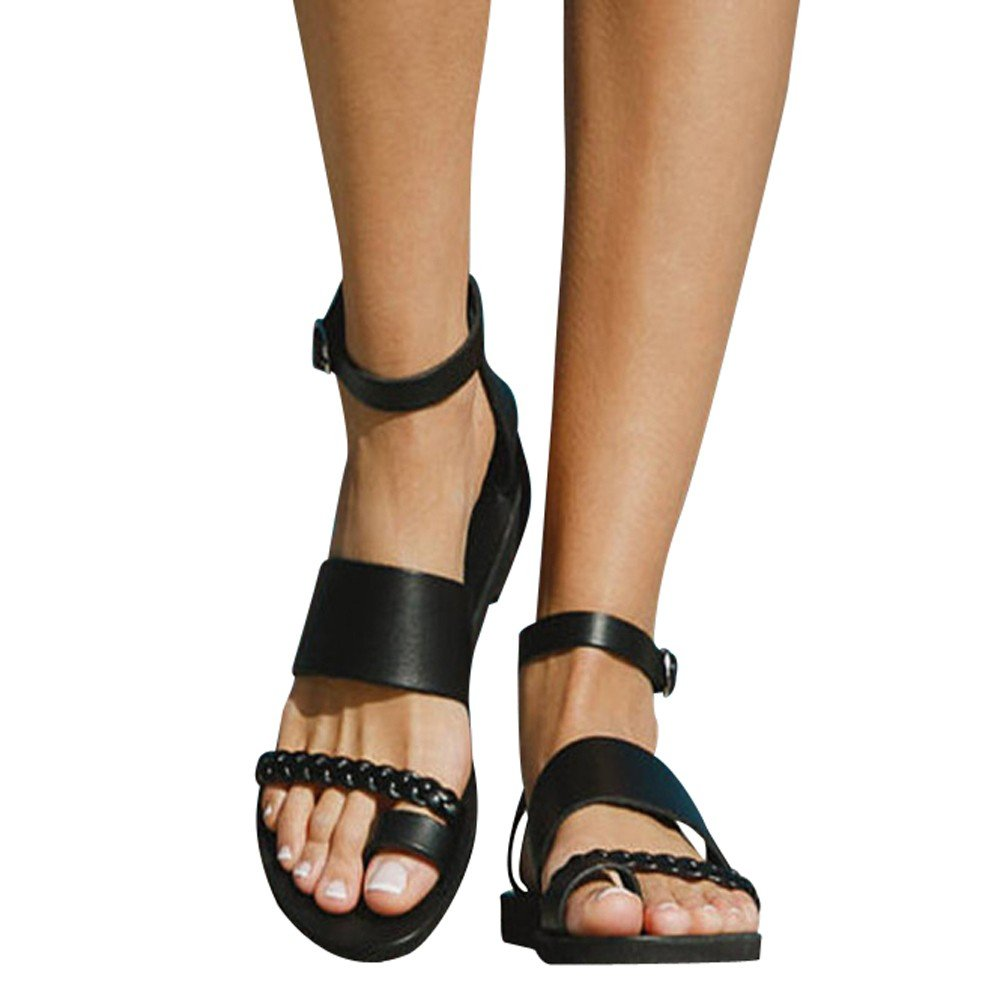 Shoes For Womens -Clearance Sale ,Farjing Women Fashion Buckle Outdoor Flat Roman Style Sandals Leisure Beach Shoes(US:8,Black )