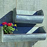 The Farmer's Market Wall Planters, Set of 2, Galvanized Metal, Rolled Edges, Weathered Distressed Finish, Terracotta Undertones, 17 3/4 and 11 3/4 Inches Wide, By Whole House Worlds