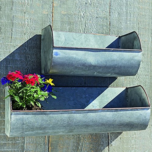 The Farmer's Market Wall Planters, Set of 2, Galvanized Metal, Rolled Edges, Weathered Distressed Finish, Terracotta Undertones, 17 3/4 and 11 3/4 Inches Wide, By Whole House Worlds by Whole House Worlds