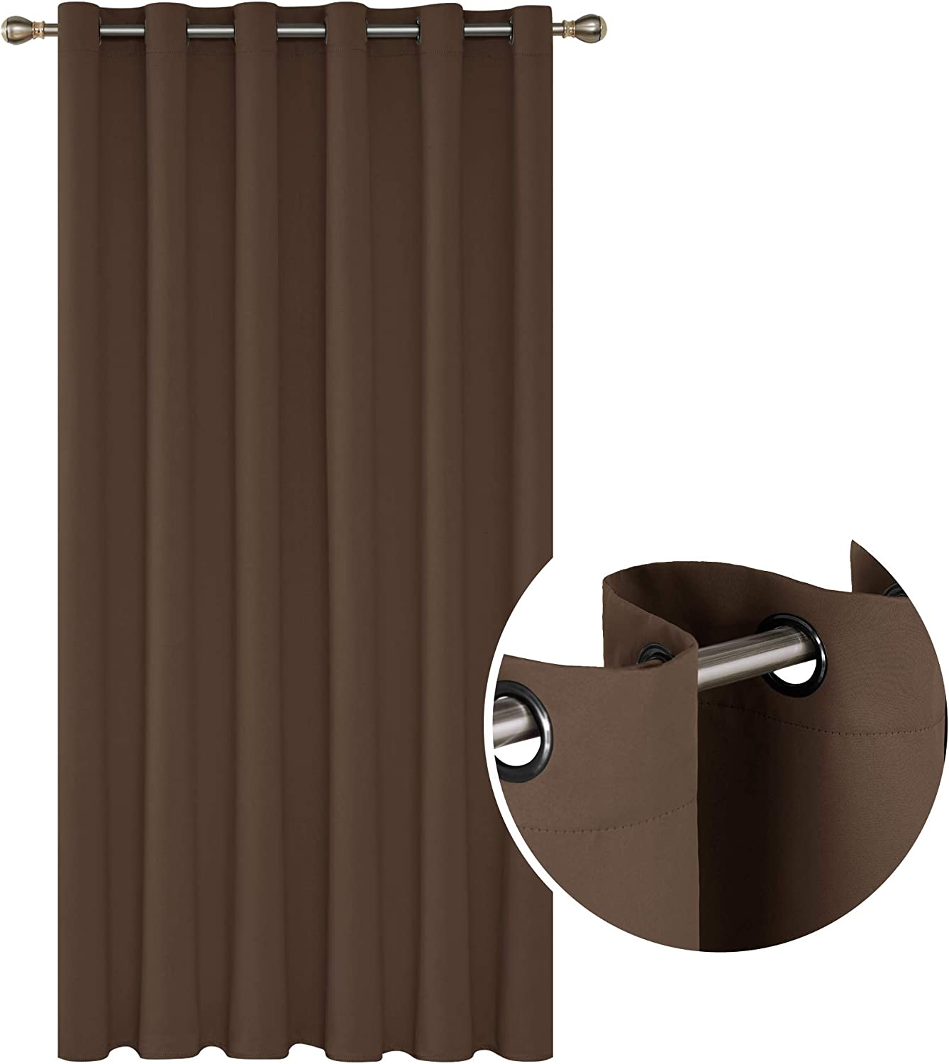 Deconovo Decorative Thermal Insulated Blackout Curtain Grommet Window Curtains Room Divider Curtain for Kids Room 80 x 84 Inch Brown 1 Drape