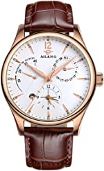 AILANG Men High-end Automatic Mechanical Watches Genuine Leather Strap AL-5809